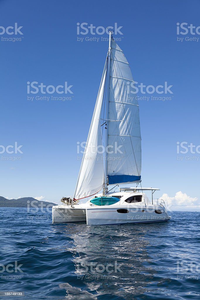 Catamaran at sea stock photo