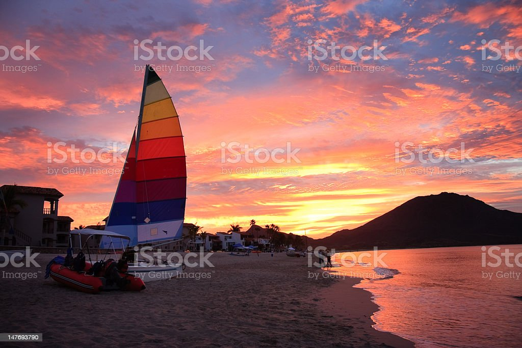 Catamaran at sunrise royalty-free stock photo