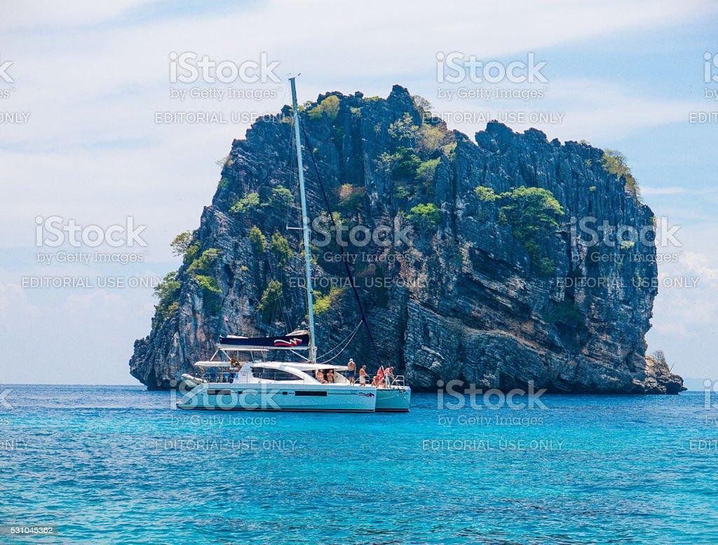 Catamaran Boat sailing at Koh Haa Neung Island, Andaman stock photo