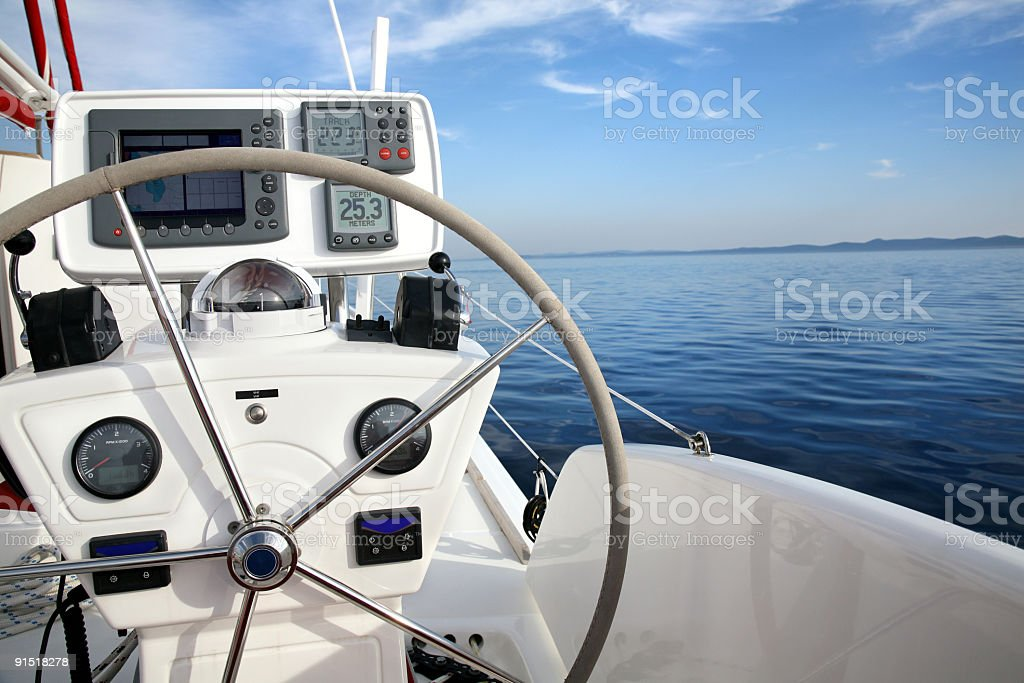 Catamaran details-sailing in Croatia royalty-free stock photo
