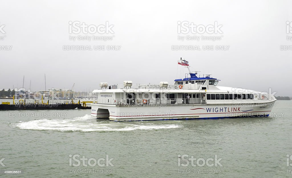 Catamaran in Portsmouth Harbour stock photo