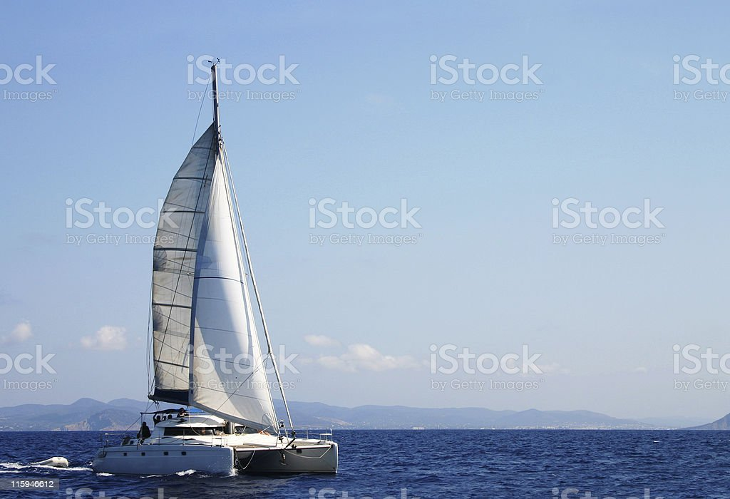 Catamaran in regatta stock photo