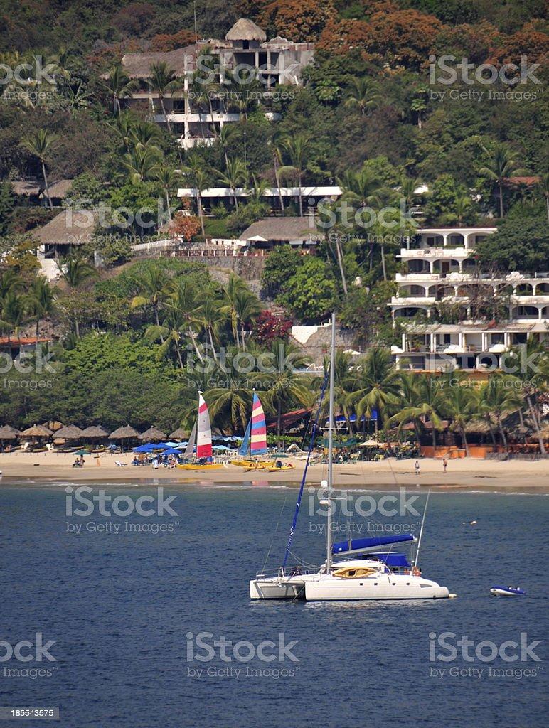 Catamaran In Zihuatanejo stock photo