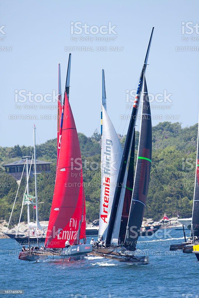 Catamaran Racing Sailboats stock photo