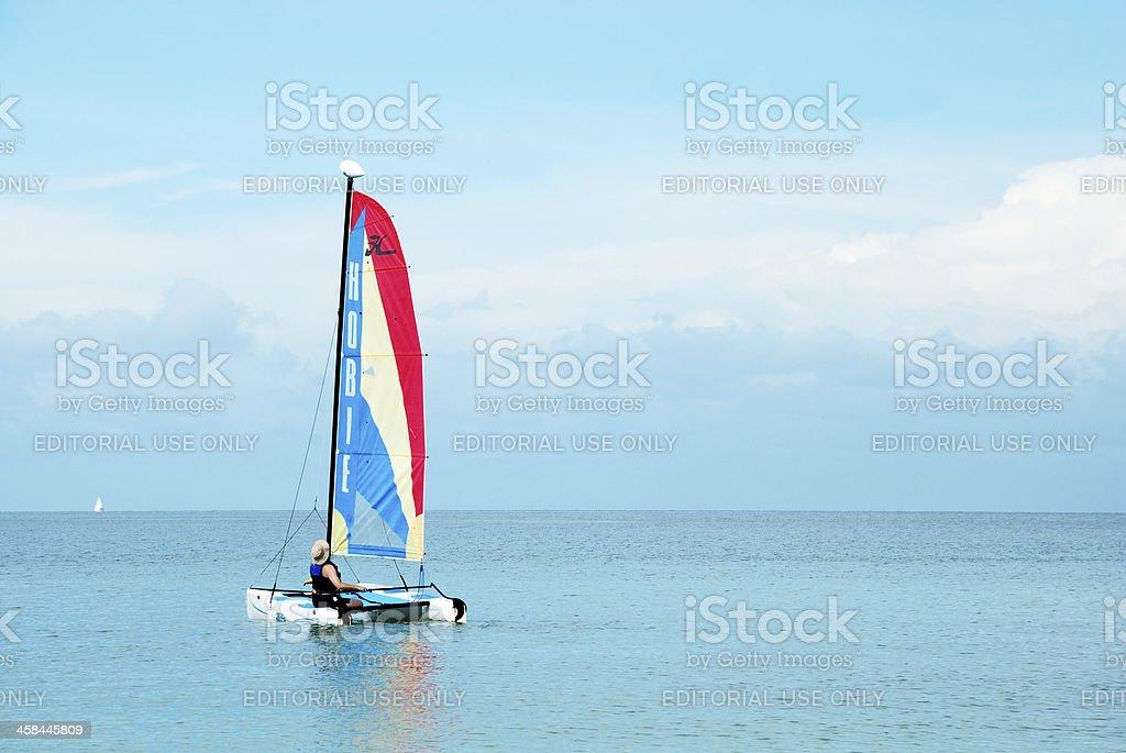 Catamaran sailboat off coast of Marco Island, Florida, USA stock photo
