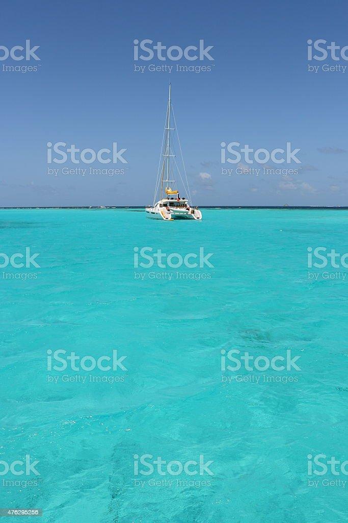 Catamaran sailing Boat Anchorage Sea stock photo