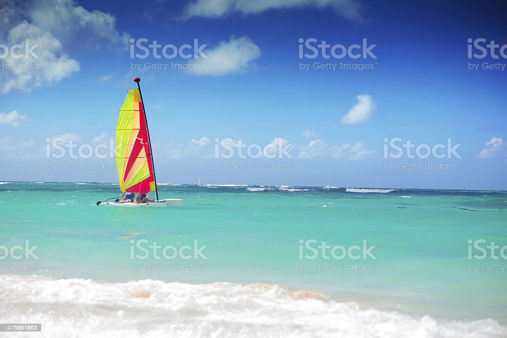 catamaran sailing in the caribbean sea stock photo