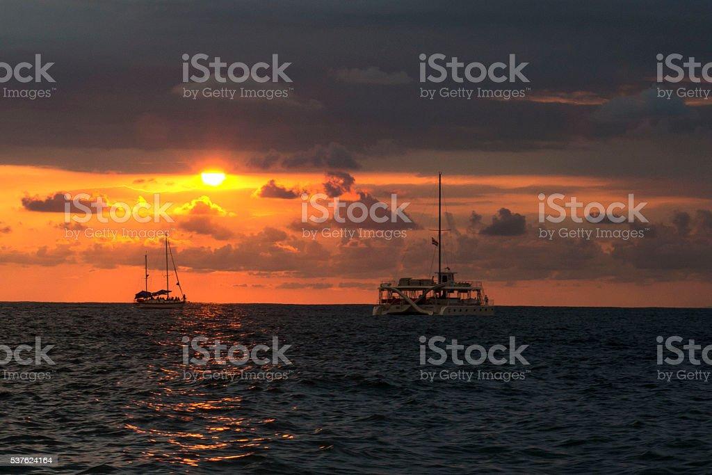 Catamaran Sunset stock photo