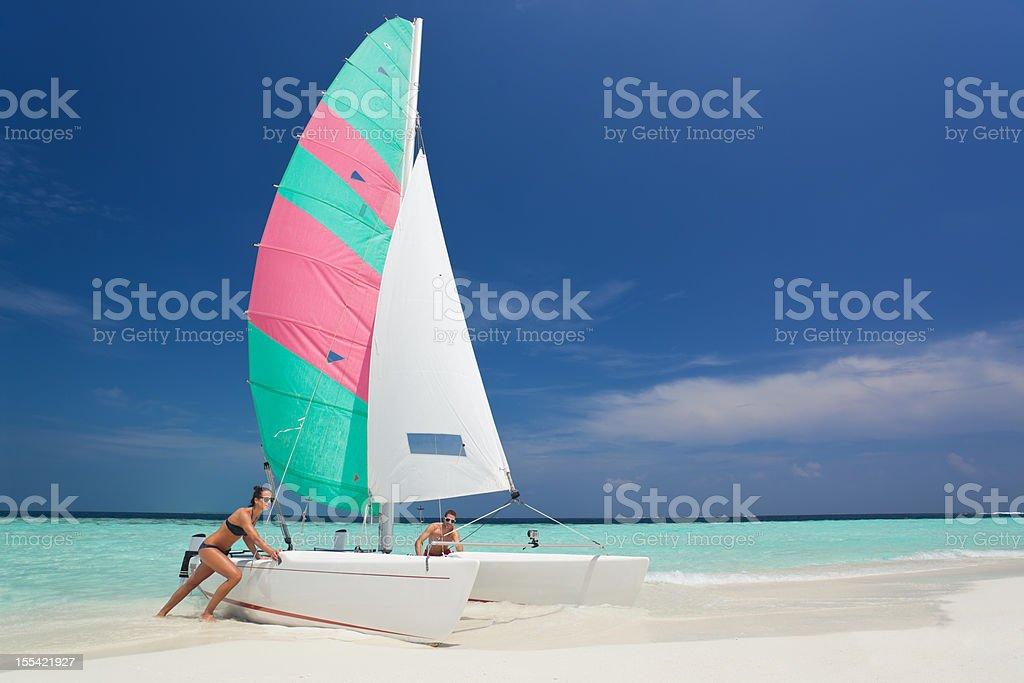 catamaran trip sandy beach royalty-free stock photo