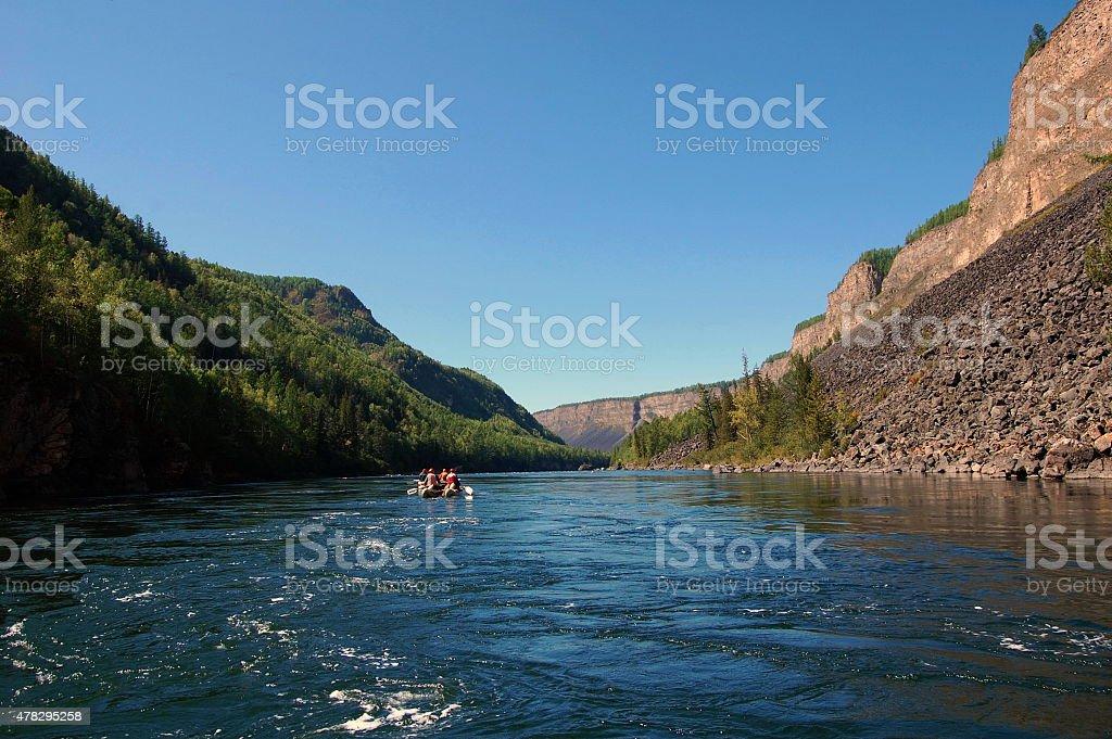 Catamarans in the river Kyzyl-Khem canyon. stock photo
