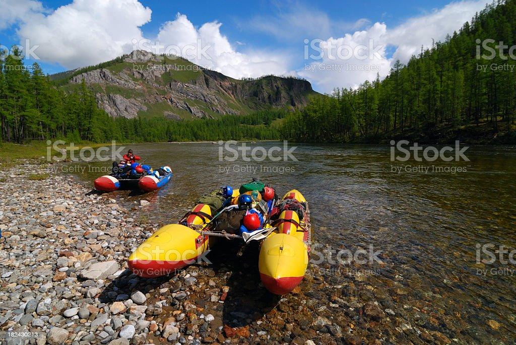 Catamarans on the river Uda (Tofalaria) stock photo
