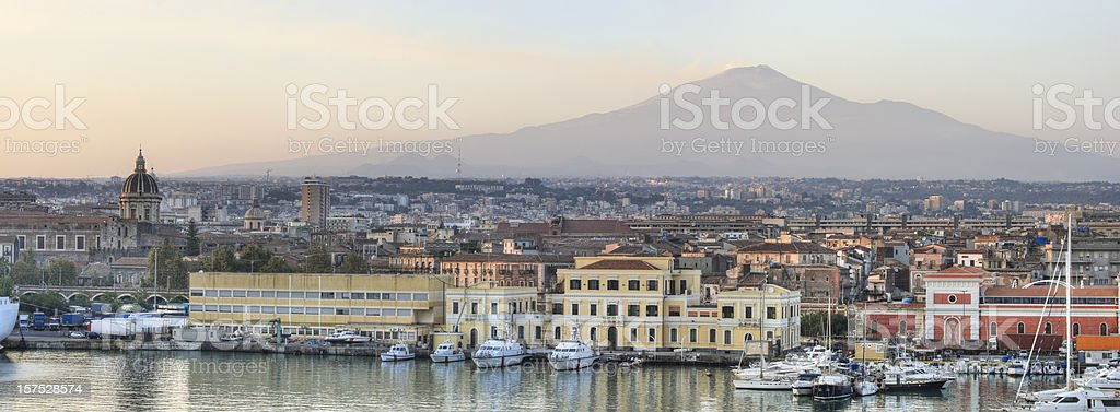Catania Sicily and Mount Etna Panorama (XXXL) stock photo