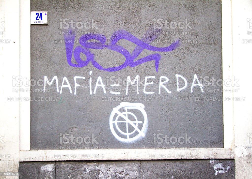 Catania, Sicily: Anti-Mafia Graffiti (MAFIA = MERDA) stock photo