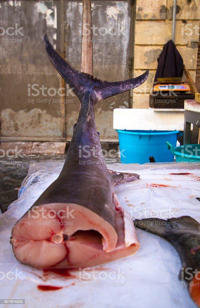 Catania, Sicily: Raw Swordfish at Fish Market (Close-Up) stock photo