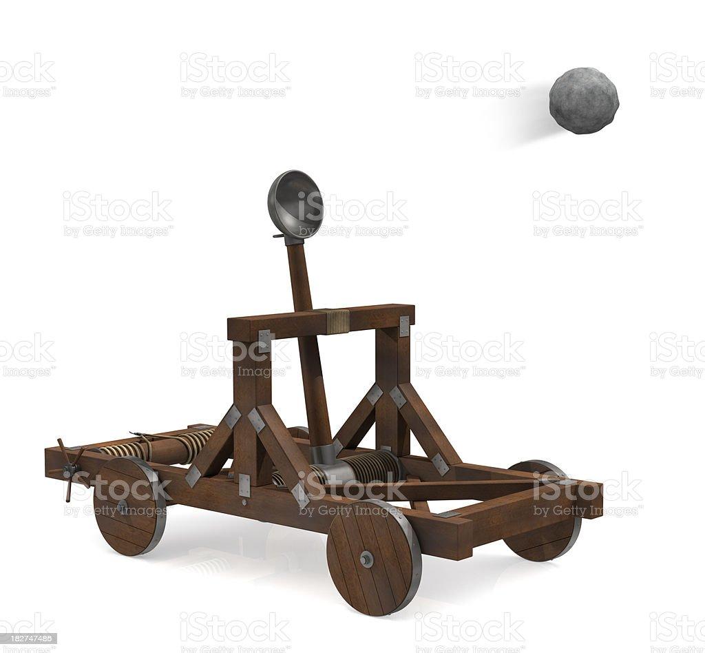 Catapult firing stock photo