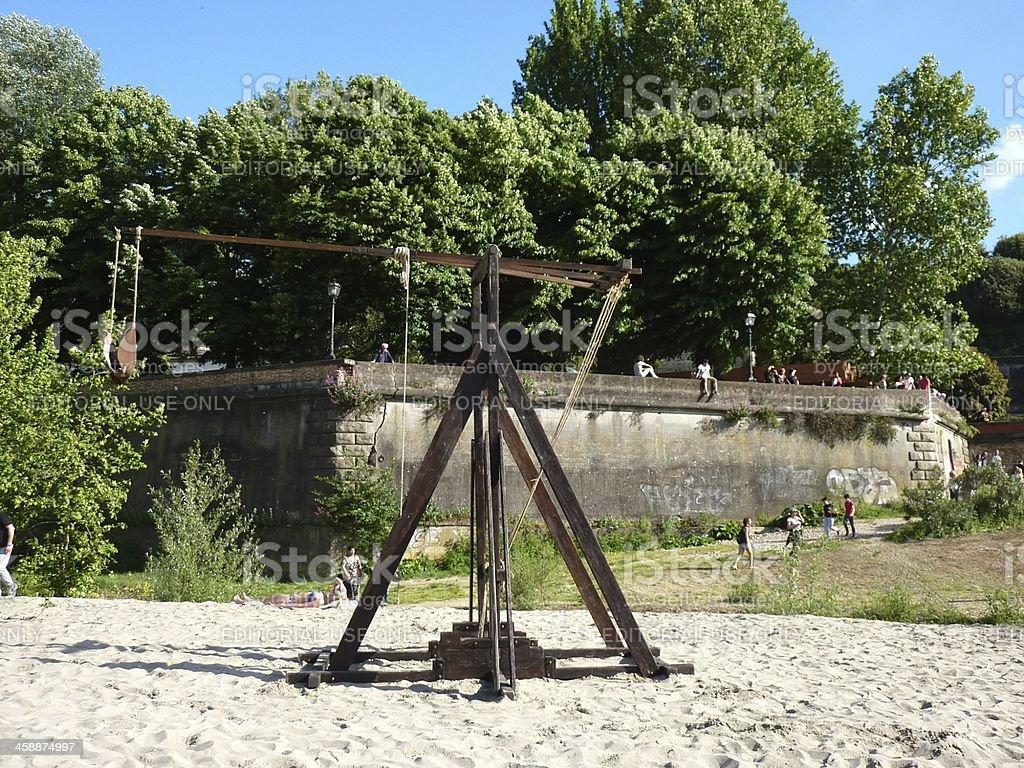 Catapult on the beach, Firenze Italy stock photo