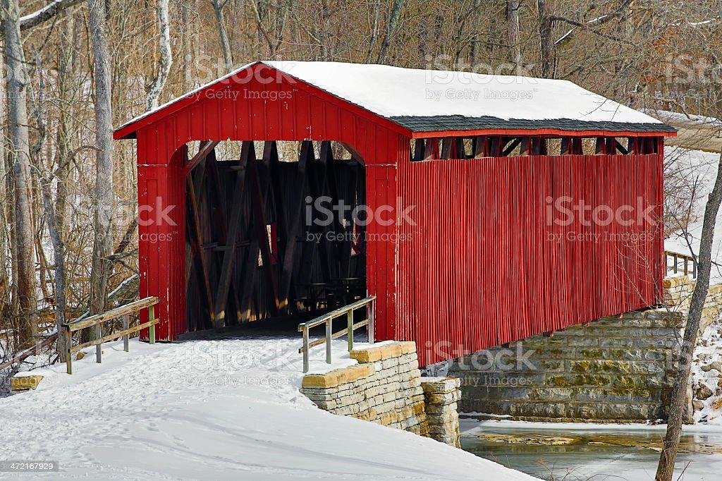 Cataract Covered Bridge and Snow stock photo