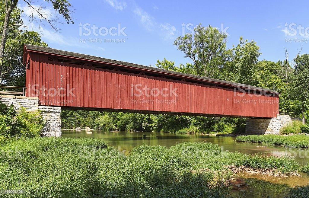 Cataratta Ponte coperto in Indiana foto stock royalty-free