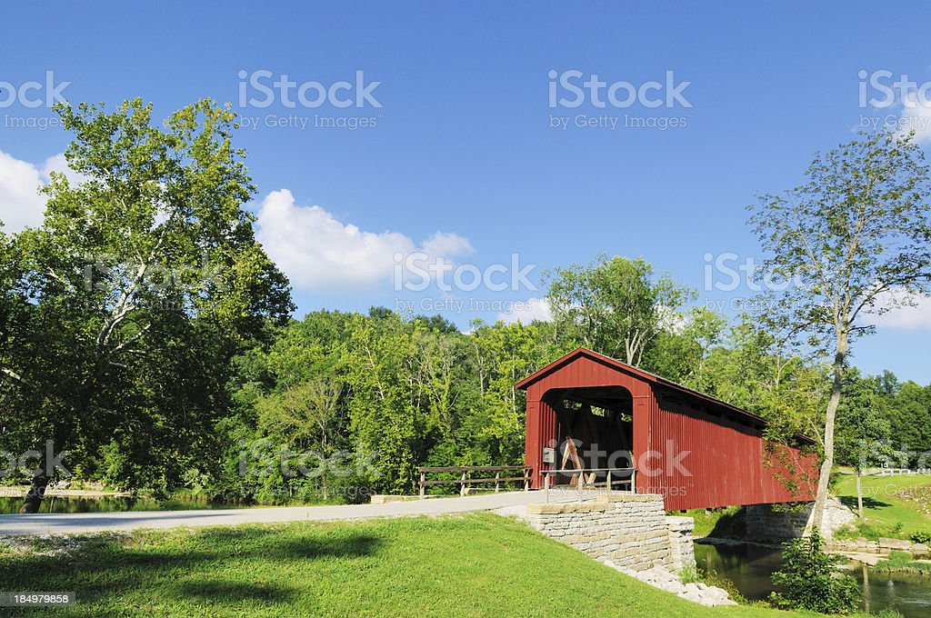 Cataract Falls State Park Covered Bridge stock photo