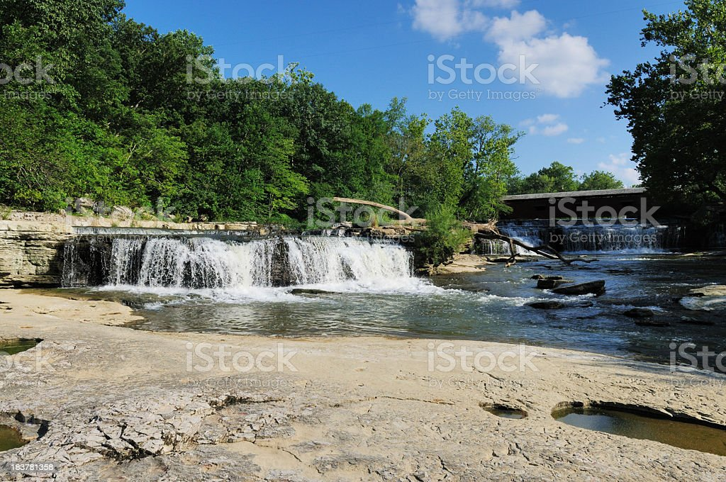 Cataract Falls State Park Indiana Historic Covered Bridge and Waterfall stock photo