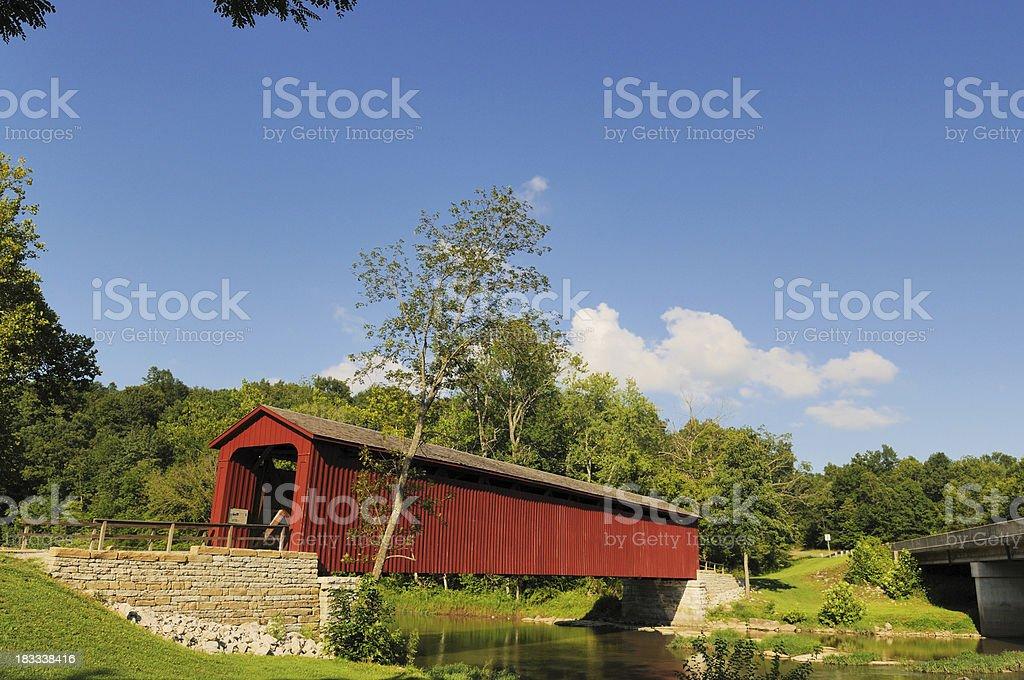 Cataract Falls State Park Indiana Historic Red Covered Bridge stock photo