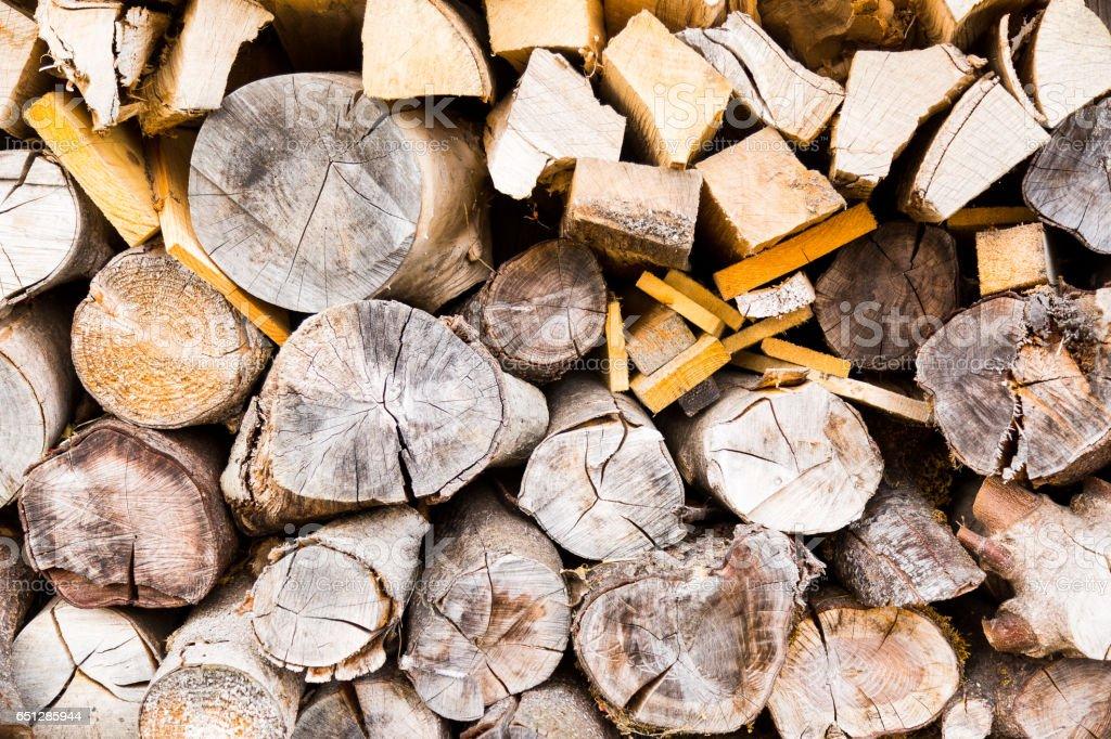 Catasta di legna inquadrata di fronte stock photo