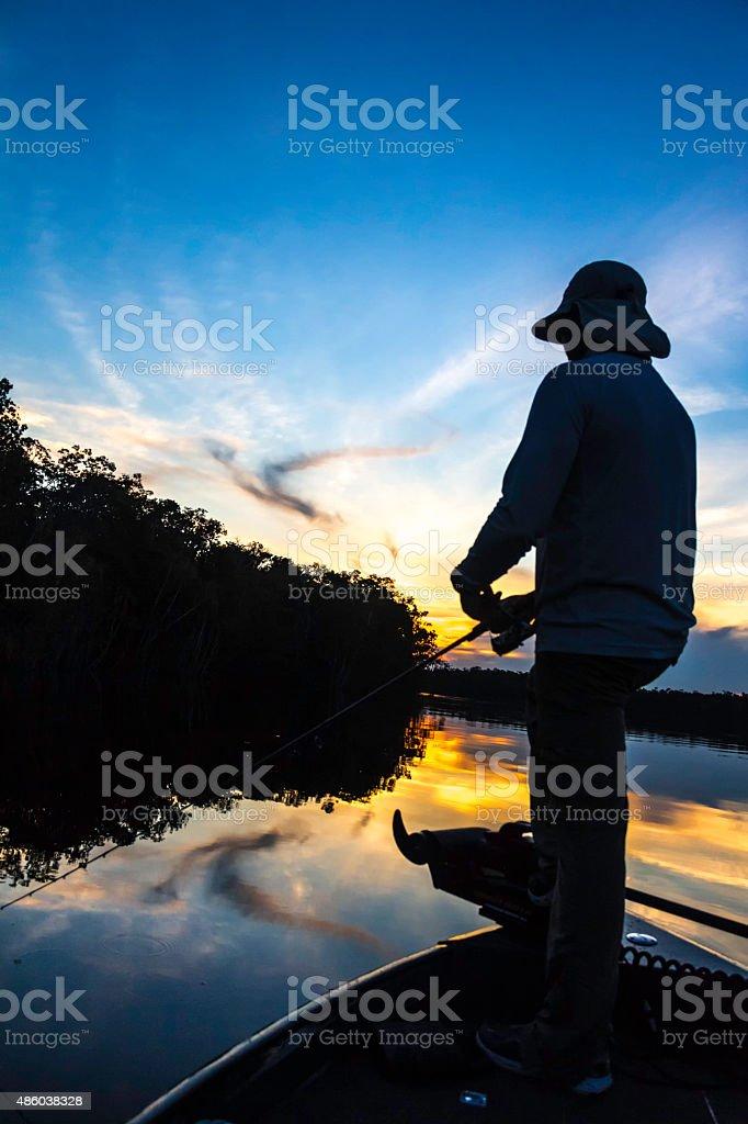 Catch and release Bass fishing in Rio Negro Venezuela stock photo