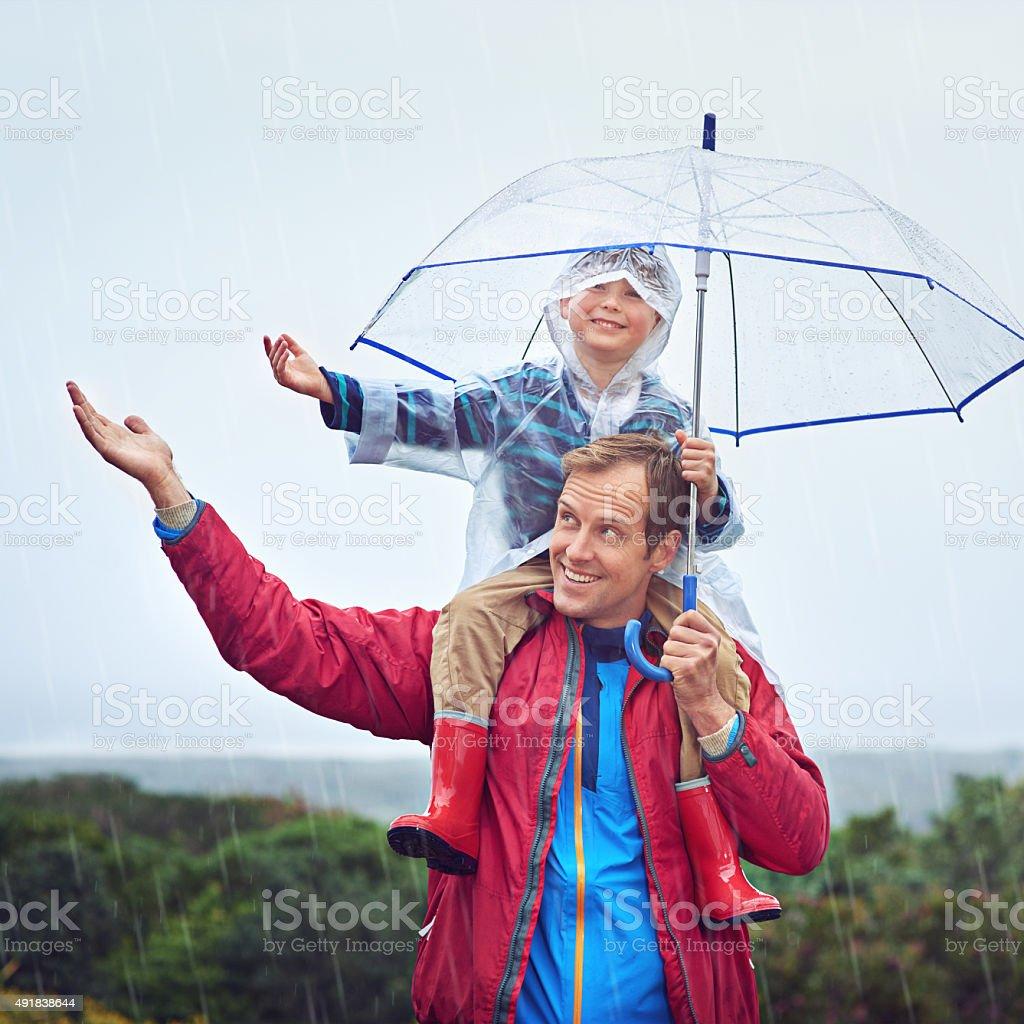 Catch the rain! stock photo