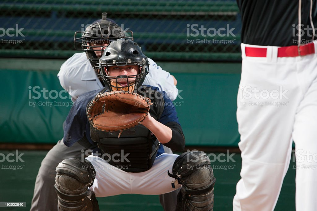 Catcher Behind Home Base stock photo
