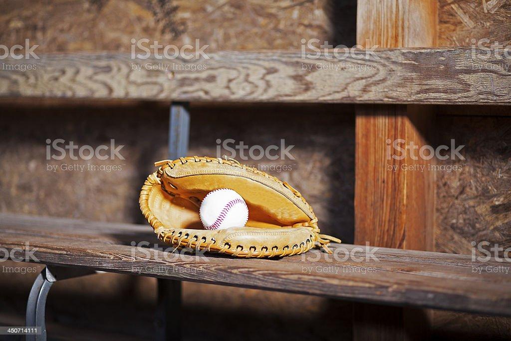 Catchers Glove with Baseball Still Life stock photo
