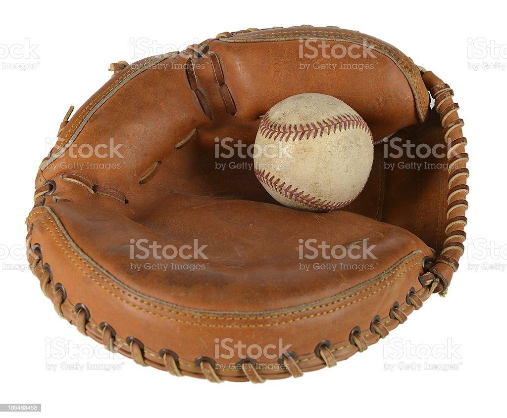 Catcher's Mitt with Baseball stock photo