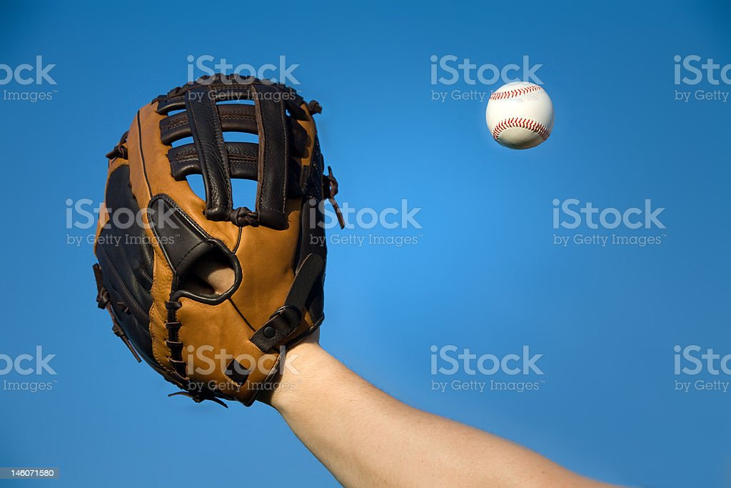 Catching a baseball royalty-free stock photo