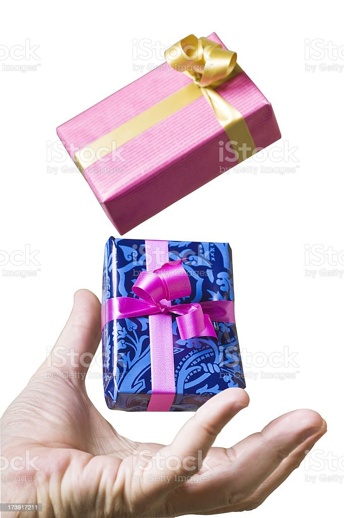 Catching a gift box. royalty-free stock photo