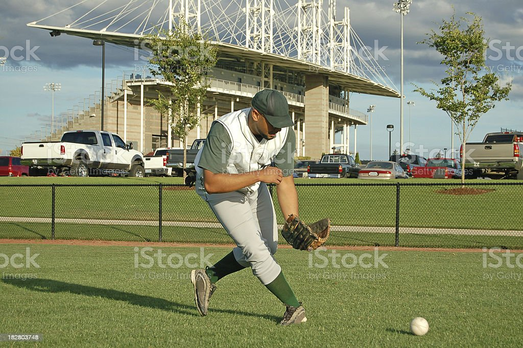 Catching a Grounder royalty-free stock photo