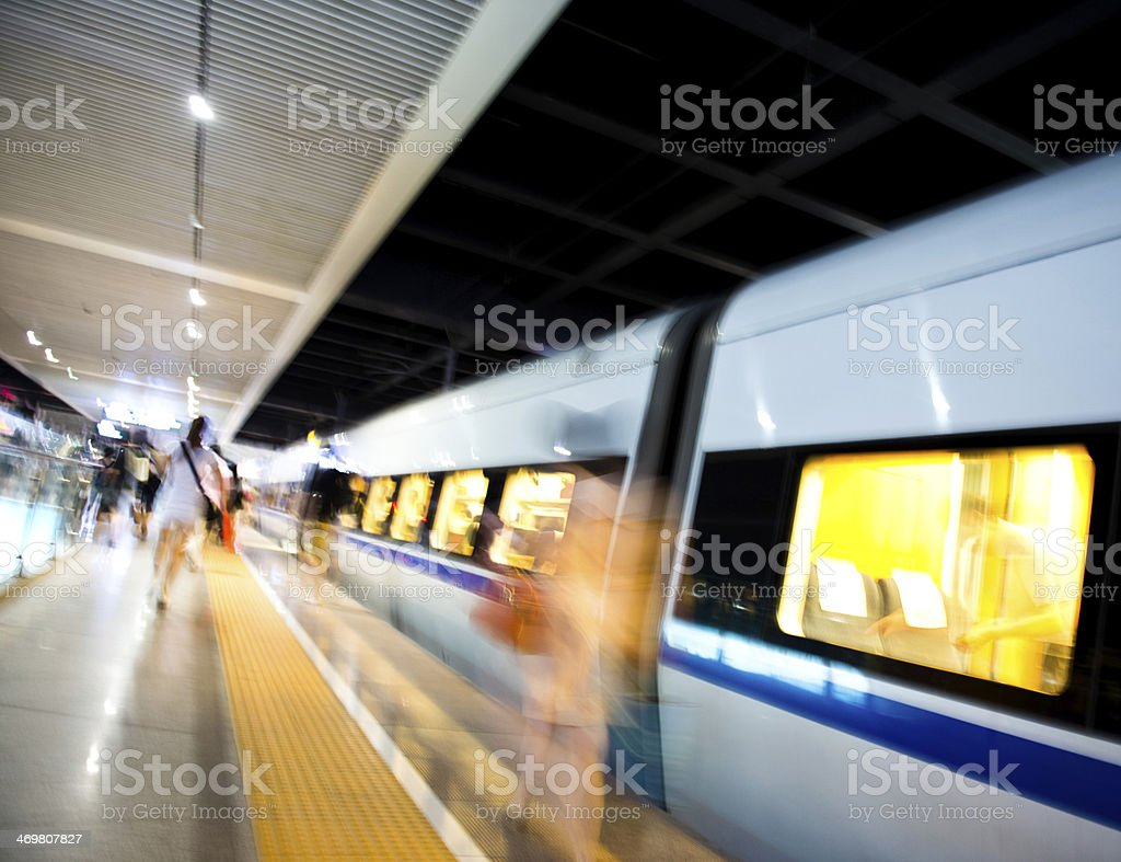 catching a train stock photo
