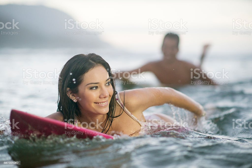 Catching a Wave in Hawaii stock photo