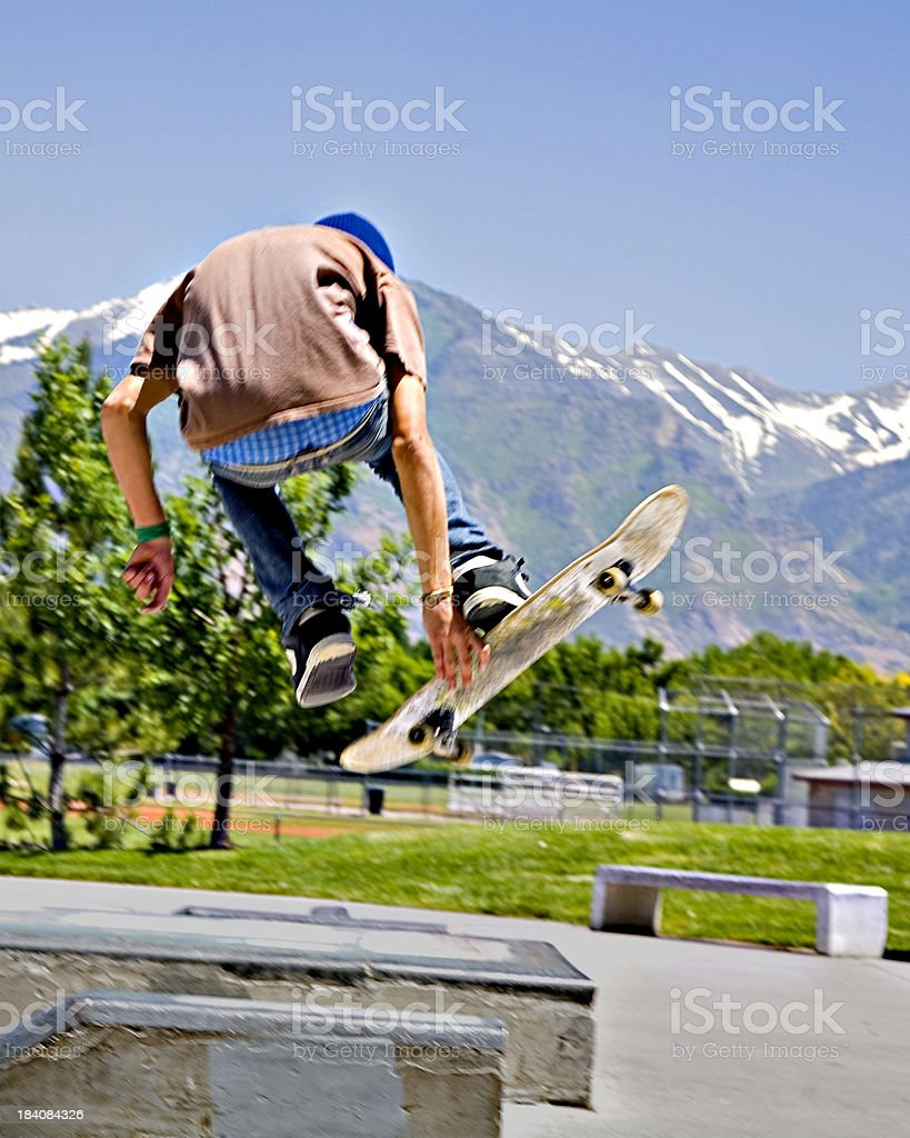 Catching Air on a skateboard. stock photo