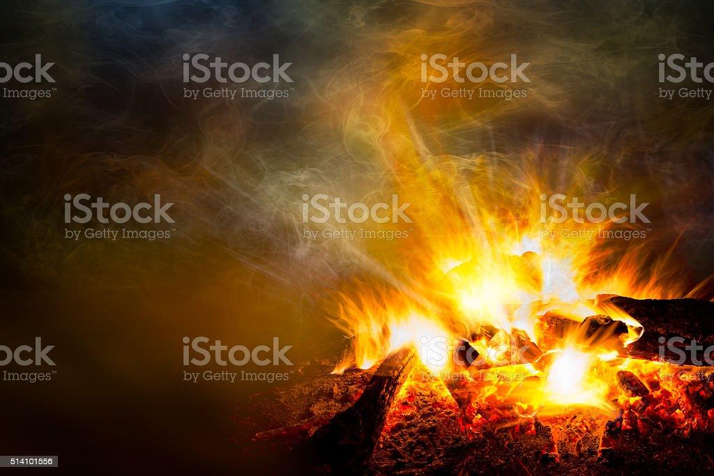 Catching bonfire and smoke stock photo