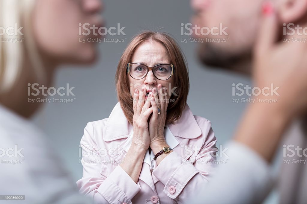 Catching cheating wife stock photo