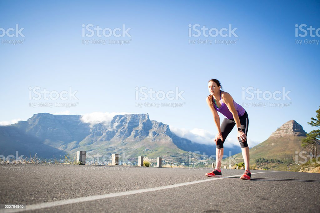 Catching my breath on my challenging morning run stock photo
