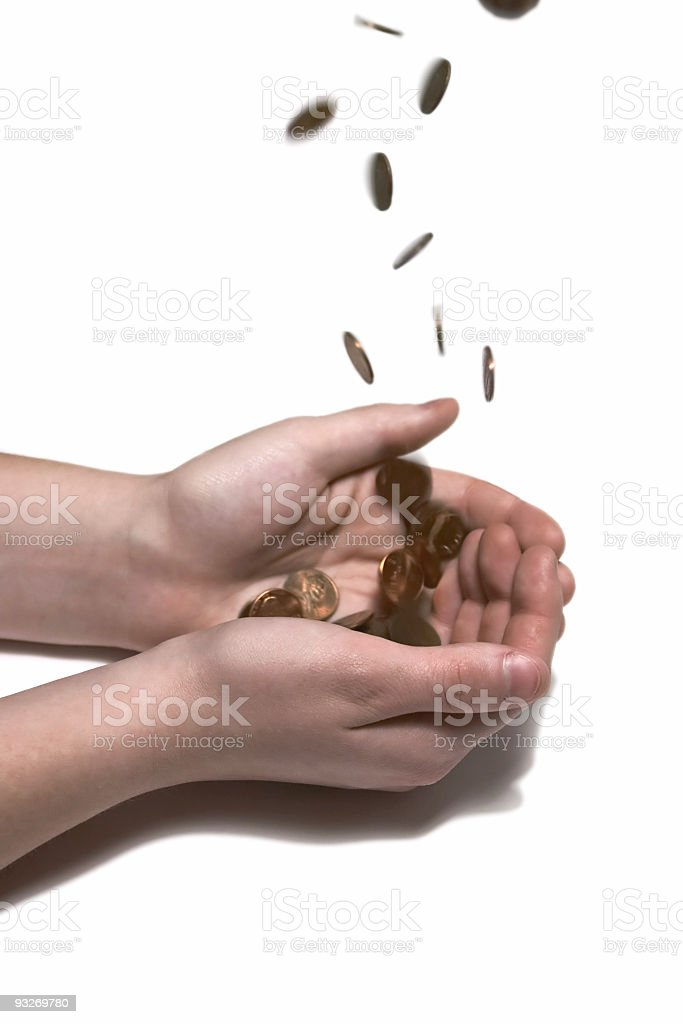 Catching Pennies From Heaven stock photo