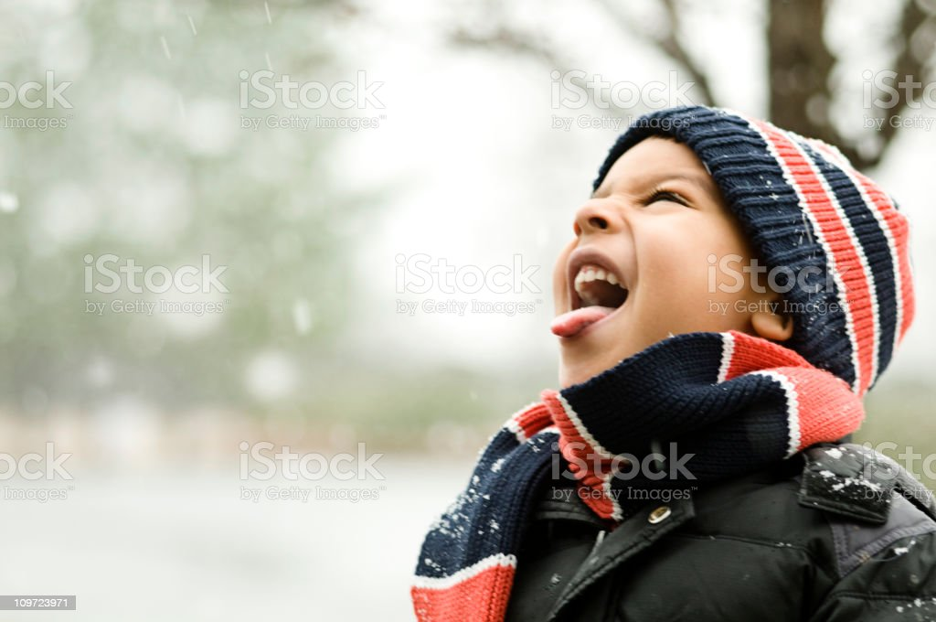 catching snow stock photo