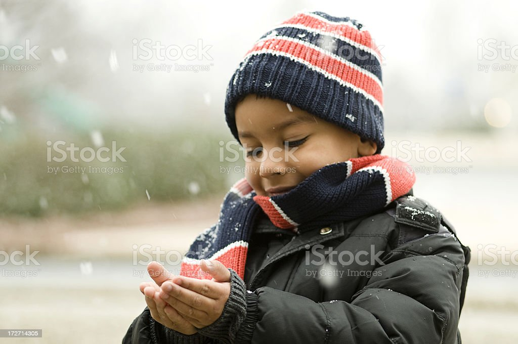 catching snow stock photo