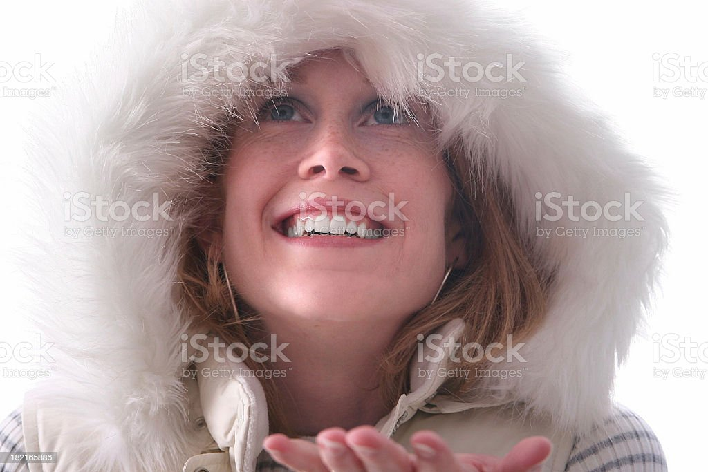 Catching snow. stock photo