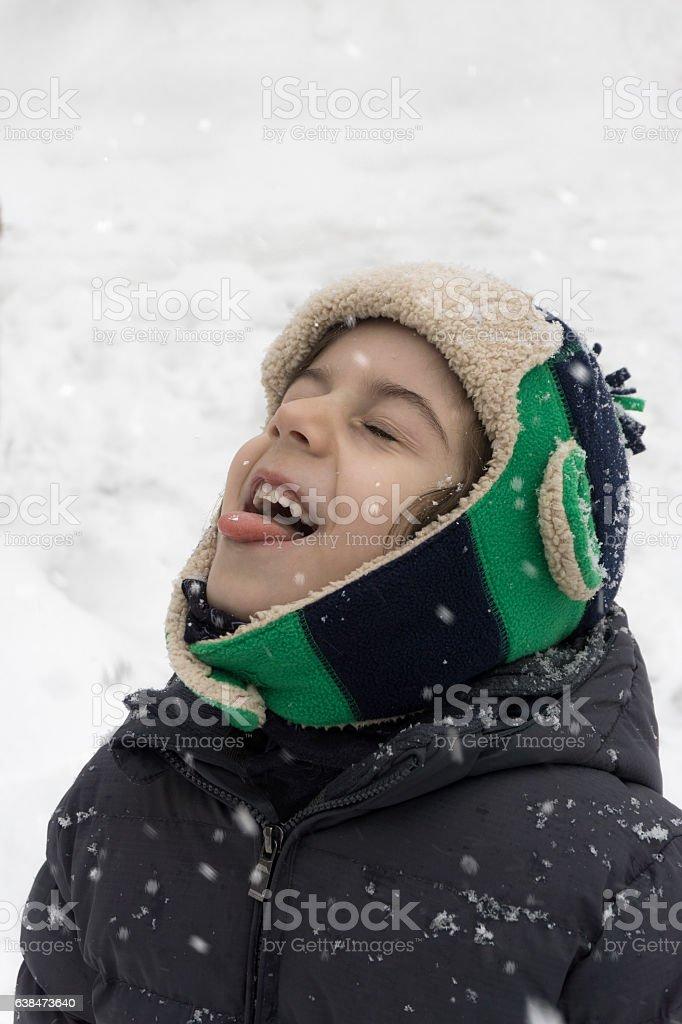 Catching Snowflakes stock photo