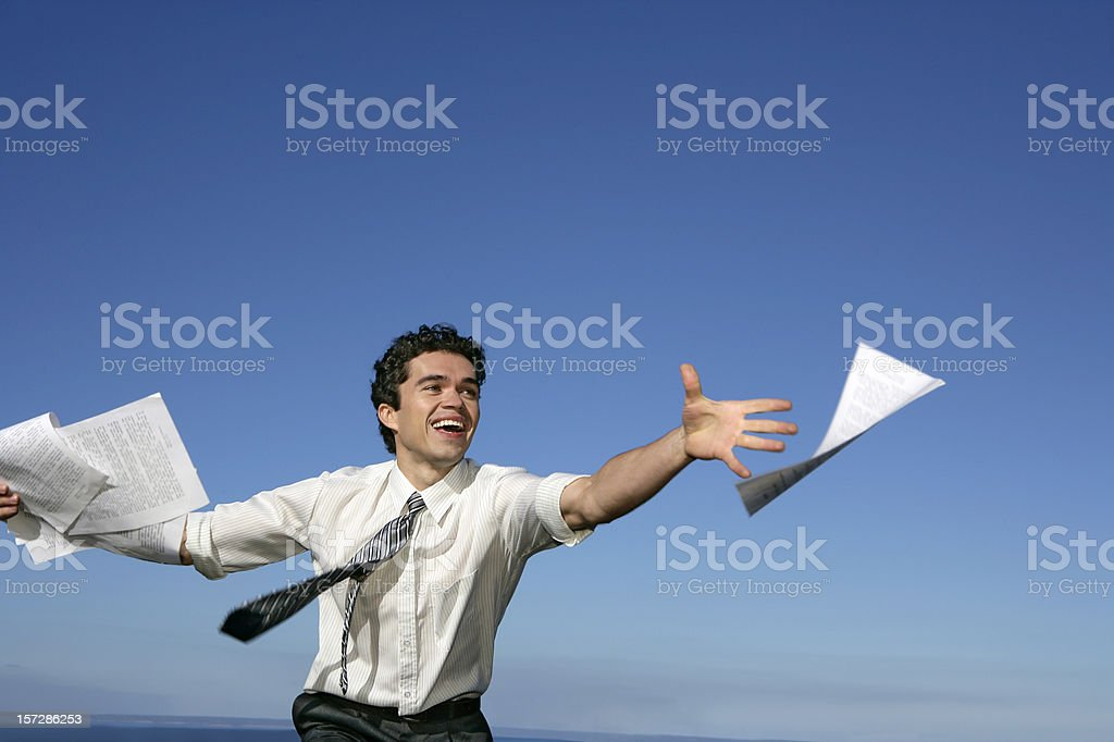 Catching the papers royalty-free stock photo