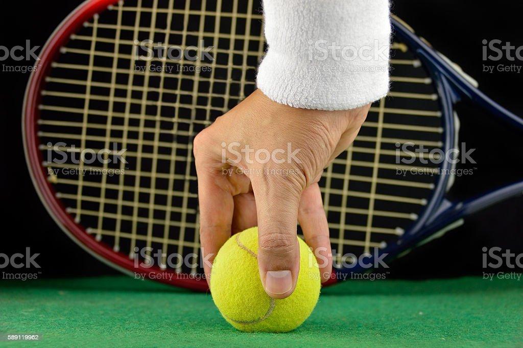 catching the tennis ball stock photo