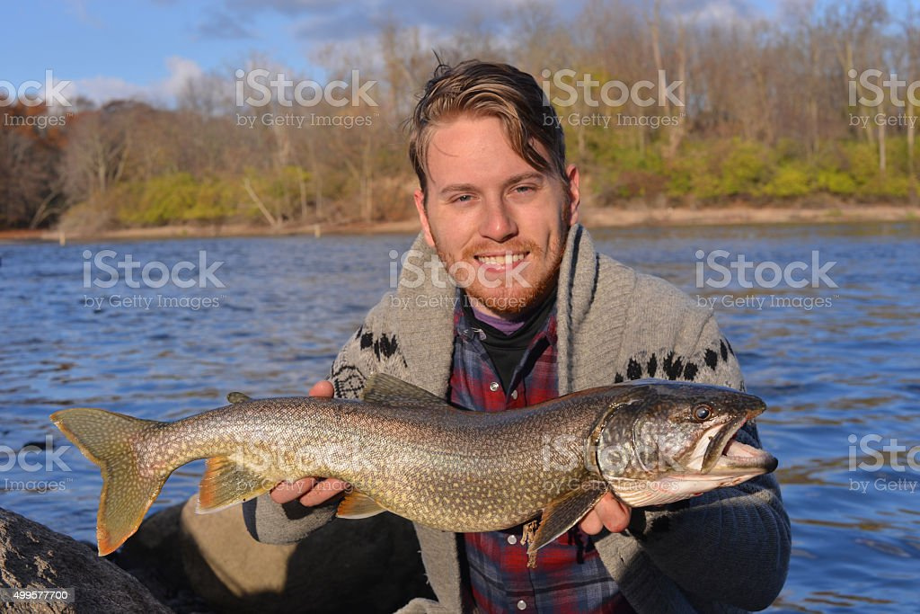 Catching trout stock photo