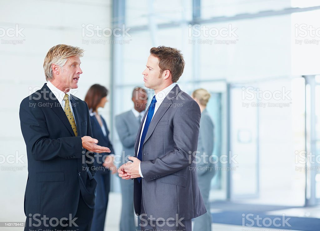 Catching up after a meeting royalty-free stock photo