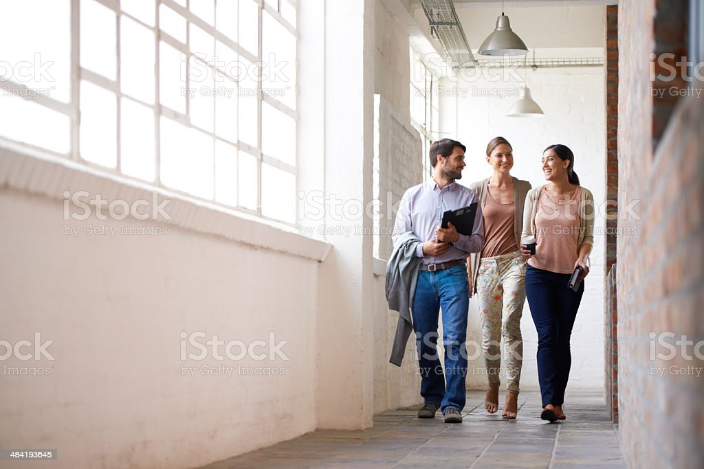 Catching up before a meeting stock photo